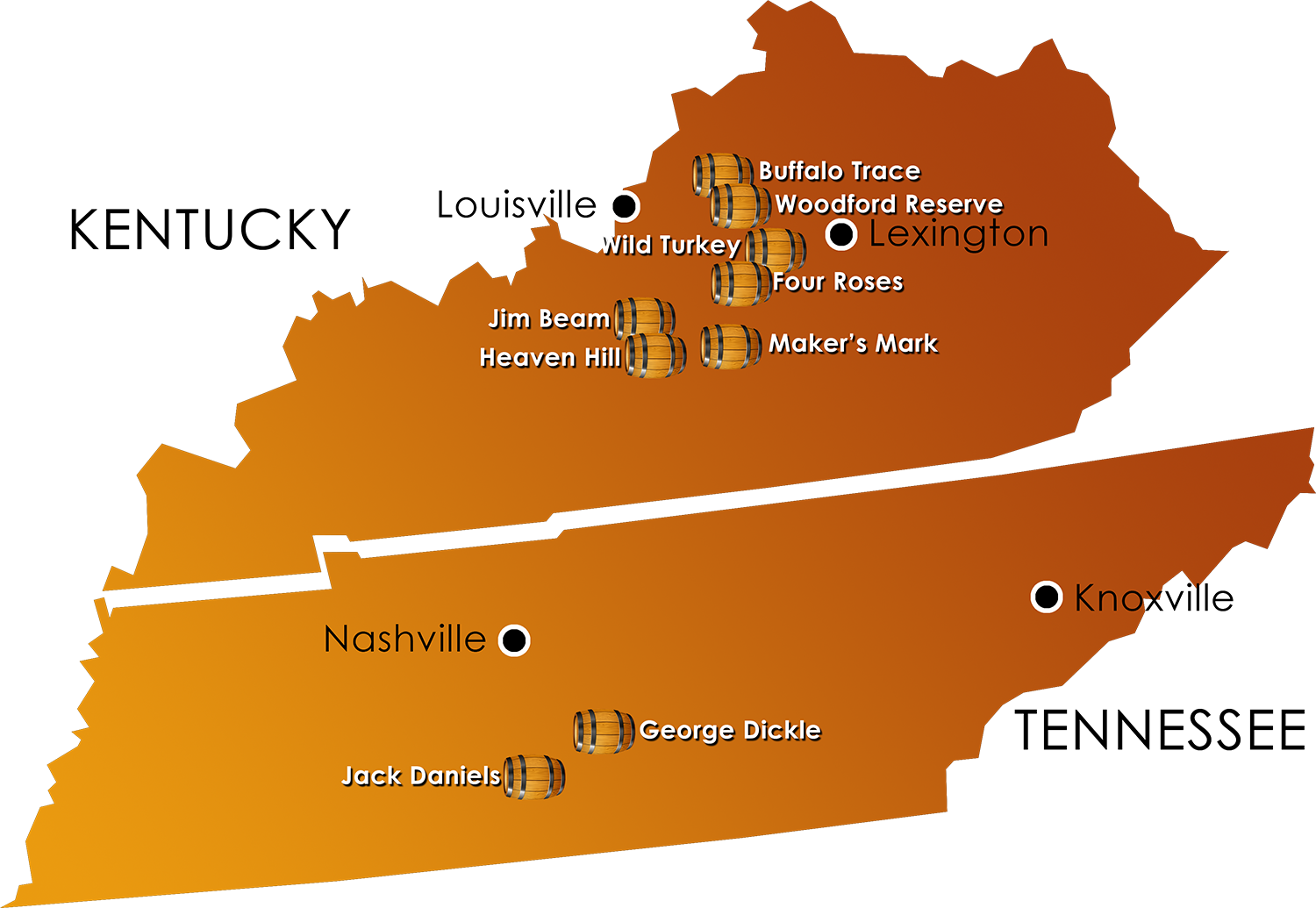 Map of Kentucky & Tennessee and prominent distillery locations