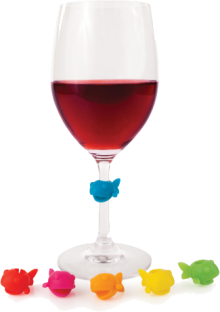 Guppy Wine Glass Charms Set of 6