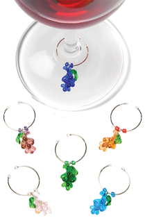 Glass Grapes Wine Charms