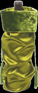 Green Satin Wine Bag
