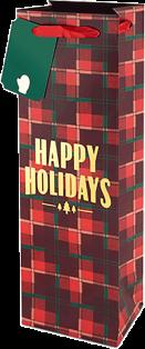 Plaid Happy Holidays Gift Bag