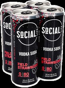 SOCIAL LITE VODKA SODA FIELD STRAWBERRY 4 x 355 ml